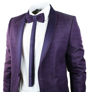 Mens-Purple-Tuxedo-Dinner-Suit-Wedding-Round-Shawl-Lapel-Slim-Fit-Bow-Tie-Embroi