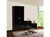HIGH GLOSS 3 PIECE BEDROOM FURNITURE SET - WARDROBE CHEST BEDSIDE- BLACK