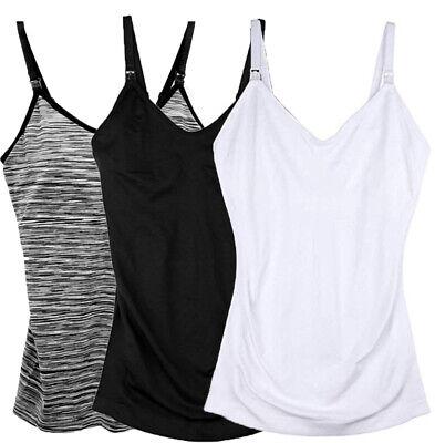 3-Pack Nursing Cami Tank Top with Build-In Maternity Bra Breastfeeding Shirt ()