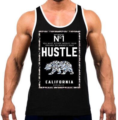 Hustler Diamond (Men's California Republic No1 Diamond Bear  Black Tank Top WT Cali Life)