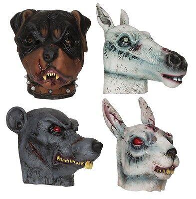Horror # Zombie Tiere Hase Pferd Hund Ratte Gummi Masken Kostüm Zubehör