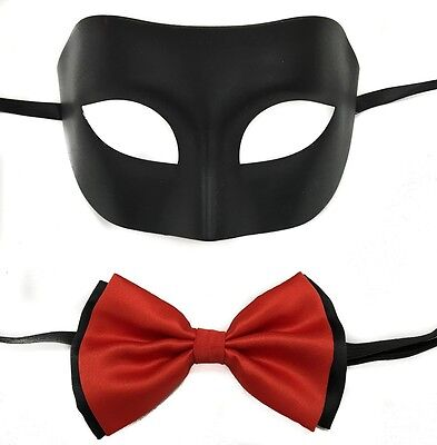 Black Simple Men's Masquerade Mask w/ Red bow tie](Simple Masquerade Masks)