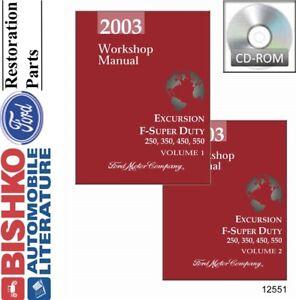 2003 Ford Excursion F250-F550 Shop Service Repair Manual CD Engine Drivetrain