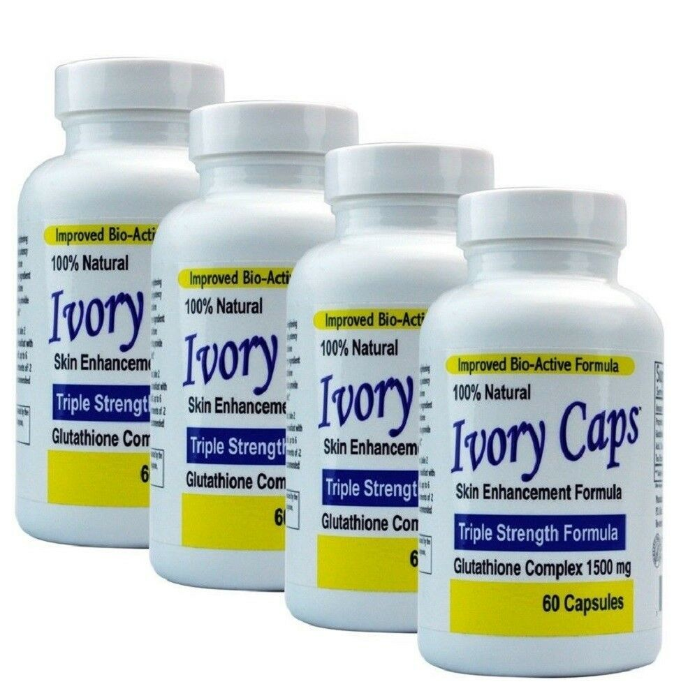 4 IVORY CAPS GLUTATHIONE SKIN WHITENING 1500 MG THISTLE exp 10/2023 or better