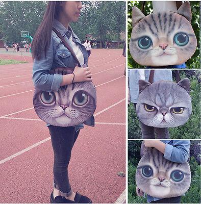 Neu Süß Große Augen Katze Kätzchen Damen Mädchen Schule College Tragetasche