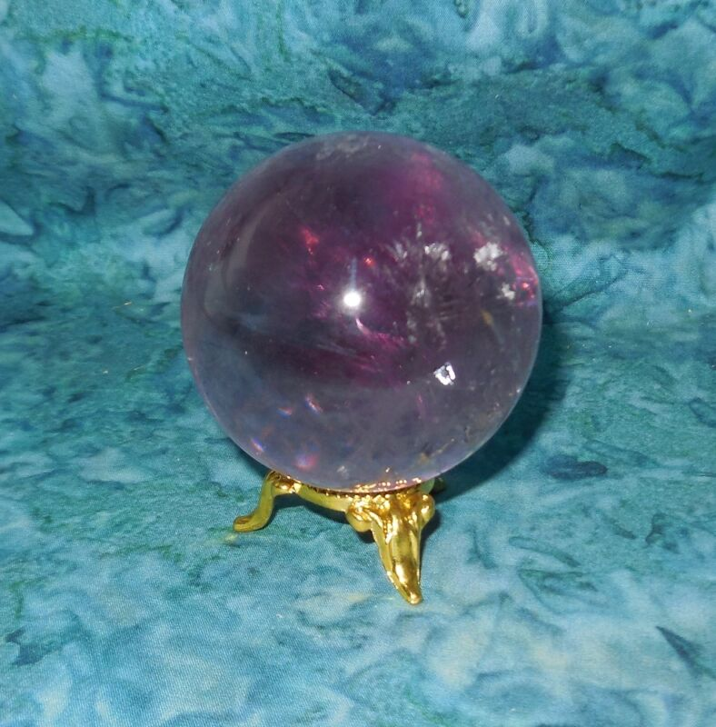 Amethyst Crystal Sphere Gold Stand NEW Sobriety Stone Heal Addiction 52mm 7.3oz
