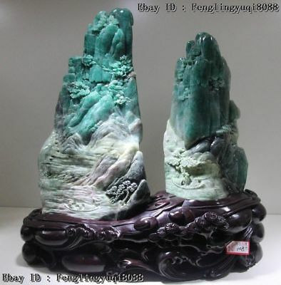 Chinese Natural Dushan Stone Jade Mountain Water Old Man By Boat Art Sculpture