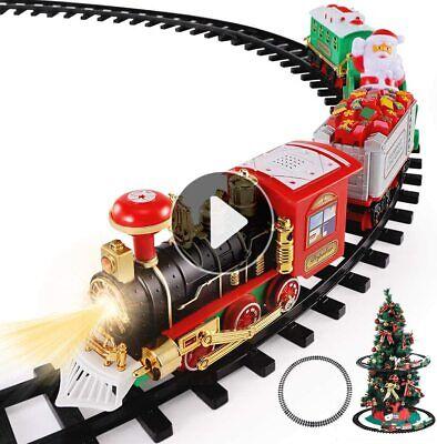Christmas Train Toys Set Around Tree, Electric Railway Train Set w/ Locomotive E