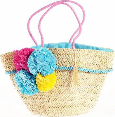 Blau Stroh Handtaschen (Benetton Strohtasche Tasche Shopper Handtasche beige/blau N66828_B96_003)