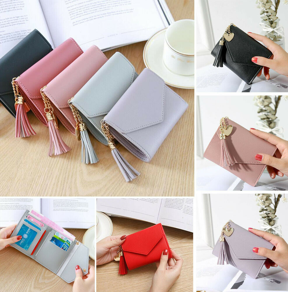 Women's Short Small Wallet Lady Leather Folding Coin Card Ho