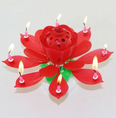Rotating Red Lotus Birthday Flower Musical Cake 8 Candles with Music Magic New Cherry Blossom Cake Candle