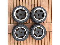 HPI Baja 5b set of (R) Hostile Mini MX (F) Dirt Buster tyres and rims complete good condition
