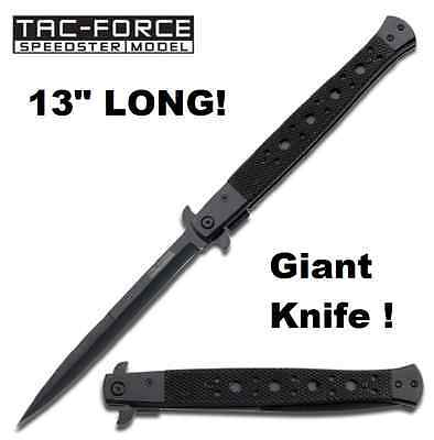 "GIANT 13"" Tac Force Speedster Linerlock Stiletto Assisted Opening Knife NEW HUGE"