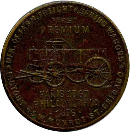 Pioneer Wagon Works of the West Chicago Illinois IL Lumber Pictorial Brass Token