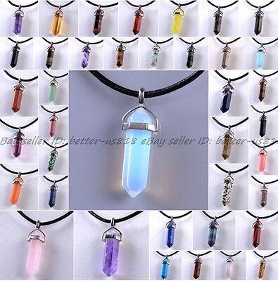 Necklace - Natural Quartz Crystal Stone Point Chakra Healing Gemstone Pendants Necklace