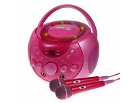 RockJam Karaoke Singing Machine Party Pack with 2 MICROPHONES & CD+G's Discs - Pink