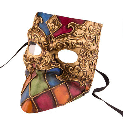 Mask Venice Bauta Isis golden mosaic for man-paper chewed- 2141 VG27