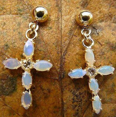 """Australian Opal Cross earrings post/dangle 1"""" long Gold finish"""