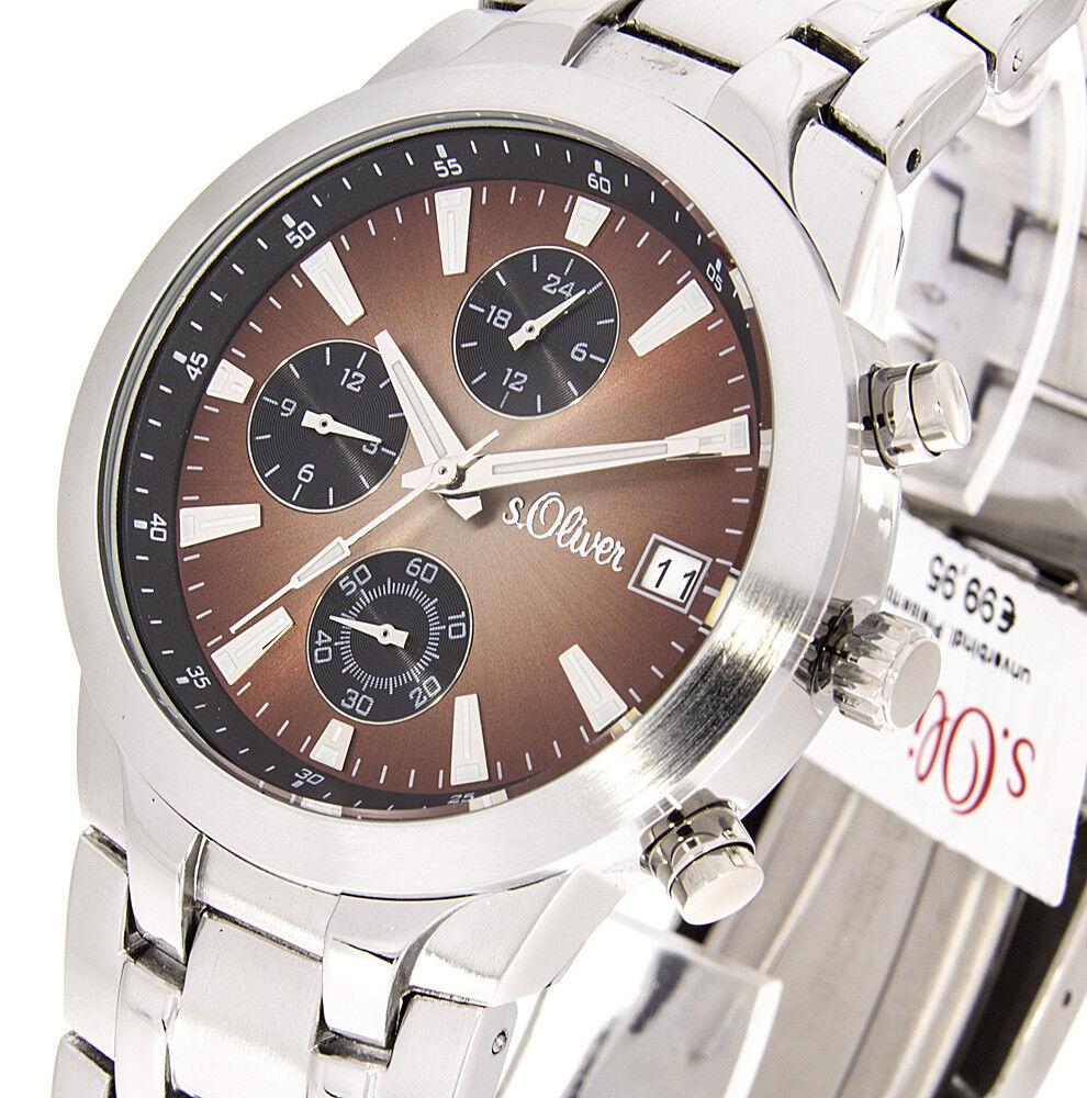 s.Oliver Herrenuhr SO-15054MCR Armbanduhr Analoguhr 2 Zeitzonen mit Box