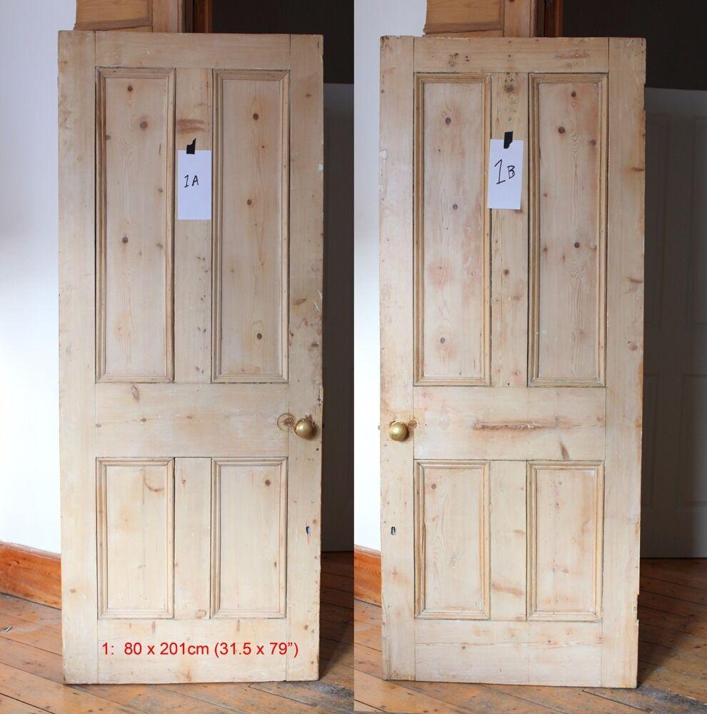 2 x Victorian pine doors