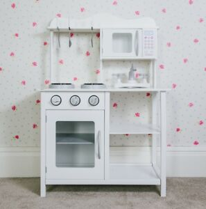 Children's Wooden Play Kitchen White Learning Cooking Role Toy Kids Pretend
