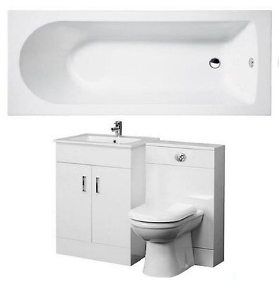 Bathroom Suite 1500mm Bath 500mm Turin Vanity Unit 500x200mm WC Unit BTW Pan