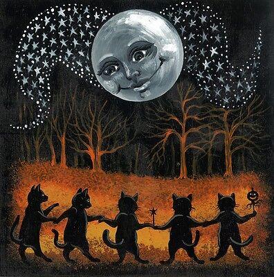 8X8 PRINT OF PAINTING HALLOWEEN RYTA VINTAGE STYLE FOLK ART GOTHIC  BLACK CAT  - Paintings Of Halloween