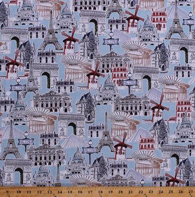 (World Landmarks Eiffel Tower Europe Travel Cotton Fabric Print BTY D507.15)