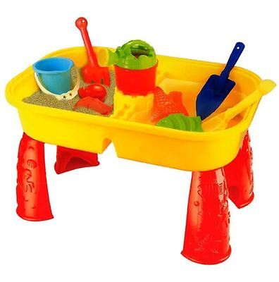 SAND AND WATER TABLE GARDEN SANDPIT PLAY SET TOY ACTIVITY TABLE WITH ACCESSORIES