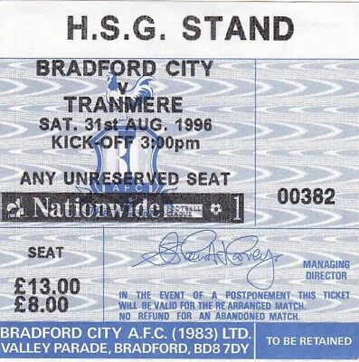 Ticket - Bradford City v Tranmere Rovers 31.08.96