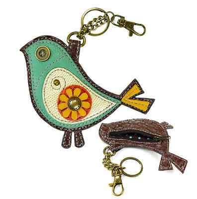 Chala Bittle Bird Key Chain Coin Purse Leather Bag Fob Charm New