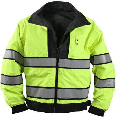 Black Hi-Visibility Waterproof REVERSIBLE Uniform Coat Duty Jacket Neon Hi Vis