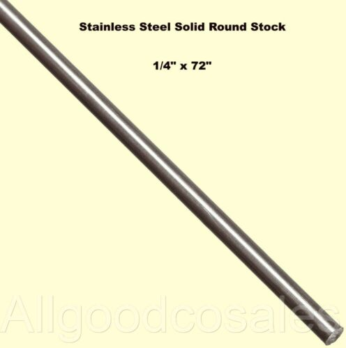 "Stainless Steel Solid Round Stock 1/4"" x 6 Ft Length 303 Unpolished Rod 72"" Long"