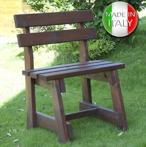 Panchina in di legno 1 posto con schienale panca da for Panca portaoggetti da esterno