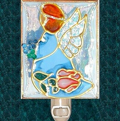Personalized Blue Guardian Angel Night Light Wall Plug In Decor Stain Art Glass