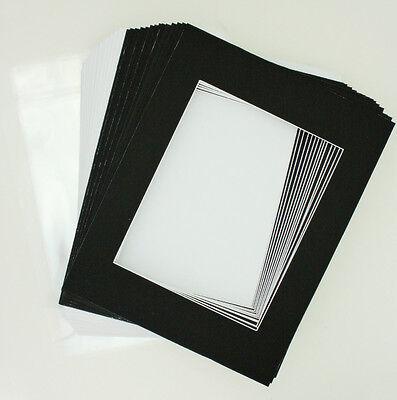 "50 11""x14"" Matte Black Picture Mat Set White Core 8""x10"" Photos Backers & Bags"