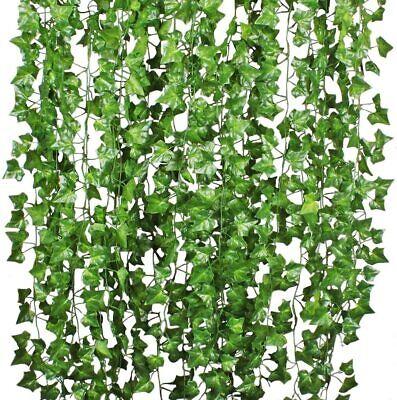 12 PCS Artificial Ivy Leaf Plants Fake Hanging Garland Plants Vine Home Decor US
