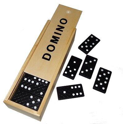 28 Dominosteine in Holzbox 16x4x3cm Sielsteine Dominospiel Domino Spiel Neu