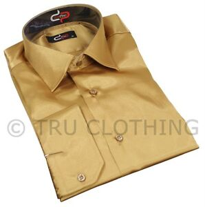 Mens Italian Design Gold Silk Satin Finish Shirt Smart