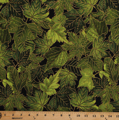 Green Gold Leaves (Green Leaves Leaf Gold Metallic on Black Cotton Fabric Print by the Yard)
