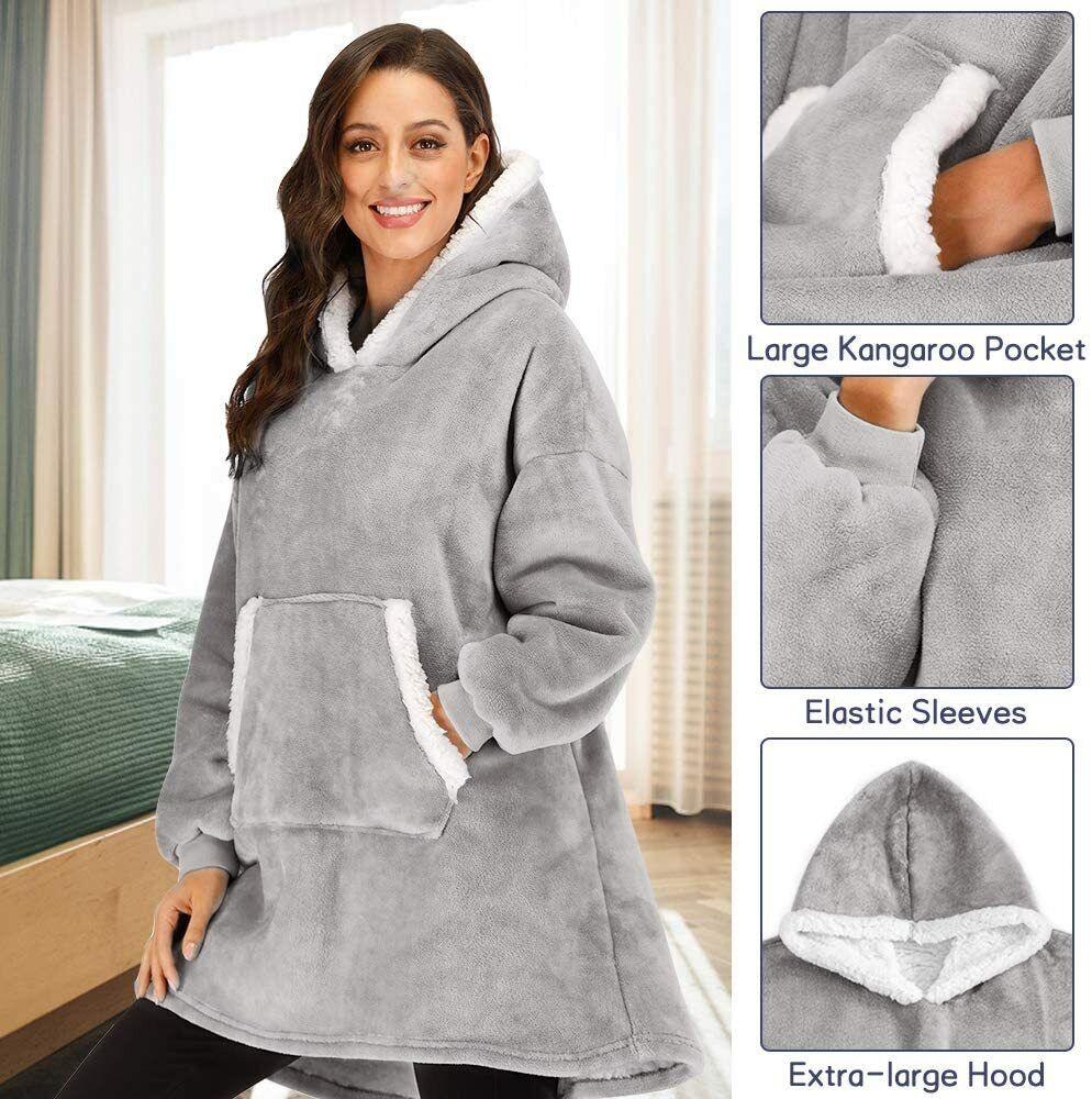 Hoodie Sweatshirt Wearable Comfy Blanket With Hood Sleeves L