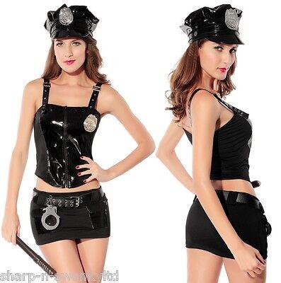 Damen 7-teilig Sexy Polizistin Polizist PVC Hen Halloween Kostüm Kleid Outfit ()