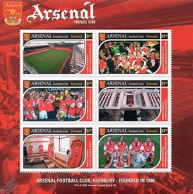 ARSENAL Football Club Stamp Sheet (2001 Grenada) Highbury Stadium Stamps