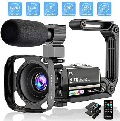 Video Camera 2.7K Camcorder Ultra HD 36MP Vlogging Camera for YouTube IR Night