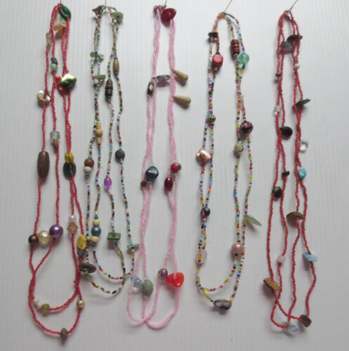 """LOT OF 5 MOTHER OF PEARL GLASS WOOD PLASTIC BEAD CONTINUOUS NECKLACES 52"""" L54"""