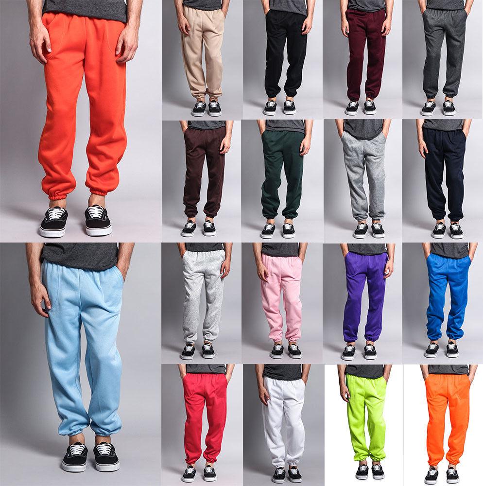 New Men's GYM Workout Basic Elastic Cuff Fleece Sweatpants