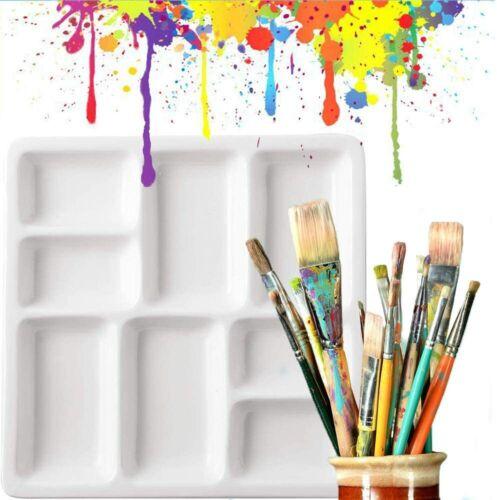 "Ceramic Artist Paint Palette, Porcelain Ceramic Mixing Tray For Watercolor 7""x7"""