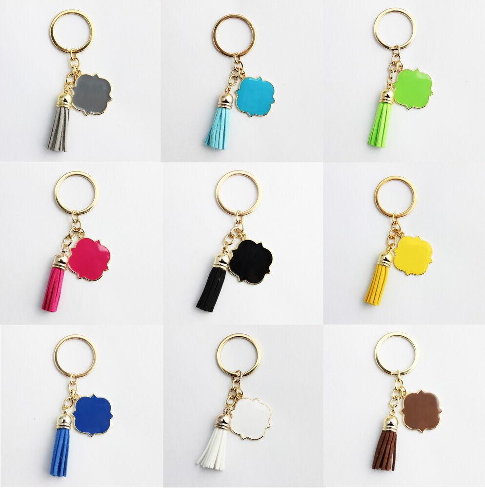 Enamel Monogram Blanks Velvet Leather Tassel Keychain Bag Pe