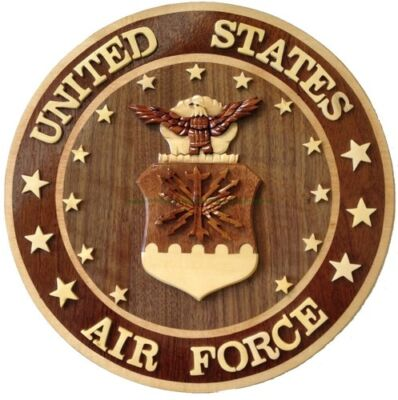 U.S. AIR FORCE EMBLEM - Handcrafted Wooden Plaque - US Air Force Plaques