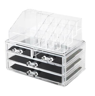 New Acrylic Makeup Case Jewelry Cosmetic Organizer Displayer Box 4 Drawers US